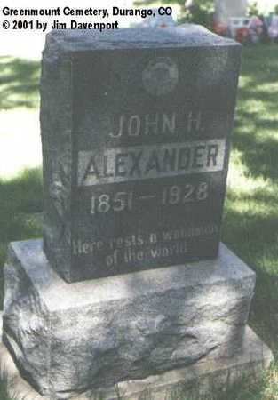 ALEXANDER, JOHN H. - La Plata County, Colorado   JOHN H. ALEXANDER - Colorado Gravestone Photos