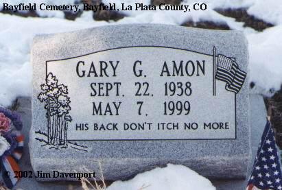 AMON, GARY G. - La Plata County, Colorado | GARY G. AMON - Colorado Gravestone Photos