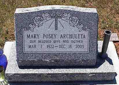 ARCHULETA, MARY POSEY - La Plata County, Colorado | MARY POSEY ARCHULETA - Colorado Gravestone Photos