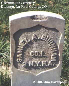 BURNHAM, SAMUEL A. - La Plata County, Colorado | SAMUEL A. BURNHAM - Colorado Gravestone Photos