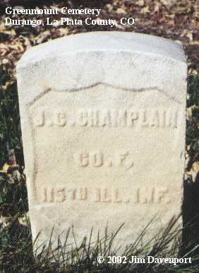 CHAMPLAIN, J. C. - La Plata County, Colorado | J. C. CHAMPLAIN - Colorado Gravestone Photos