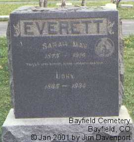 EVERETT, SARAH MAY - La Plata County, Colorado | SARAH MAY EVERETT - Colorado Gravestone Photos