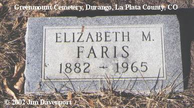 FARIS, ELIZABETH M. - La Plata County, Colorado | ELIZABETH M. FARIS - Colorado Gravestone Photos