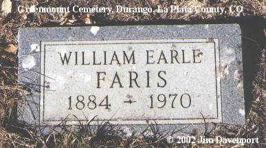 FARIS, WILLIAM EARLE - La Plata County, Colorado | WILLIAM EARLE FARIS - Colorado Gravestone Photos
