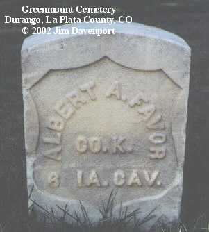 FAVOR, ALBERT A. - La Plata County, Colorado | ALBERT A. FAVOR - Colorado Gravestone Photos