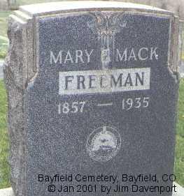 MACK FREEMAN, MARY E. - La Plata County, Colorado | MARY E. MACK FREEMAN - Colorado Gravestone Photos