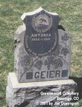 GEIER, ANTONIA - La Plata County, Colorado | ANTONIA GEIER - Colorado Gravestone Photos