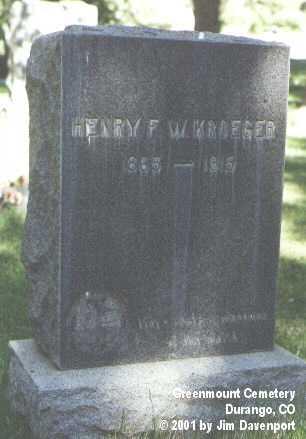 KROEGER, HENRY F. - La Plata County, Colorado | HENRY F. KROEGER - Colorado Gravestone Photos