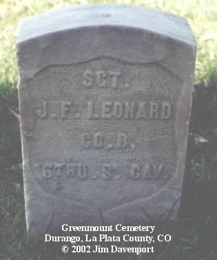 LEONARD, J. F. - La Plata County, Colorado   J. F. LEONARD - Colorado Gravestone Photos