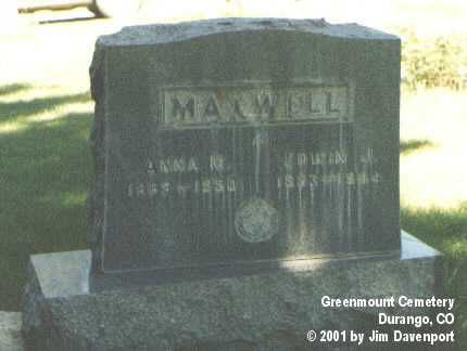 MAXWELL, ANNA M. - La Plata County, Colorado | ANNA M. MAXWELL - Colorado Gravestone Photos