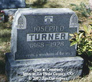 TURNER, JOSEPH D. - La Plata County, Colorado | JOSEPH D. TURNER - Colorado Gravestone Photos