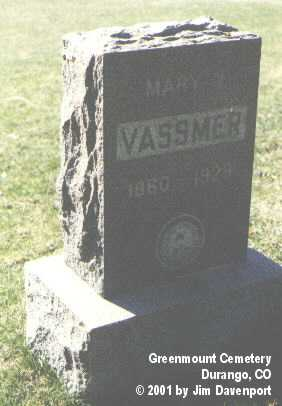 VASSMER, MARY J. - La Plata County, Colorado | MARY J. VASSMER - Colorado Gravestone Photos