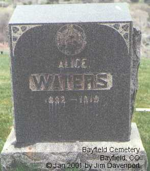WATERS, ALICE - La Plata County, Colorado | ALICE WATERS - Colorado Gravestone Photos