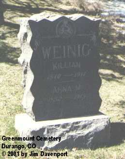 WEINIG, KILLIAN - La Plata County, Colorado | KILLIAN WEINIG - Colorado Gravestone Photos