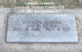 ADKINS, VINTON - Larimer County, Colorado | VINTON ADKINS - Colorado Gravestone Photos