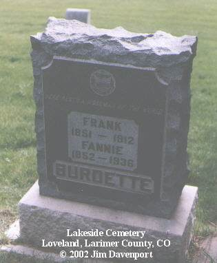 BURDETTE, FANNIE - Larimer County, Colorado | FANNIE BURDETTE - Colorado Gravestone Photos