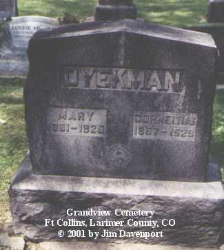 DYEKMAN, CORNELIUS - Larimer County, Colorado | CORNELIUS DYEKMAN - Colorado Gravestone Photos