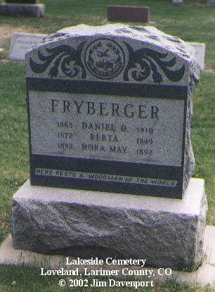 FRYBERGER, DANIEL O. - Larimer County, Colorado | DANIEL O. FRYBERGER - Colorado Gravestone Photos