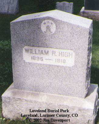 HIGH, WILLIAM R. - Larimer County, Colorado | WILLIAM R. HIGH - Colorado Gravestone Photos