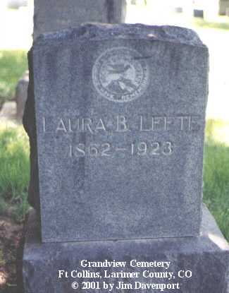 LEETE, LAURA B. - Larimer County, Colorado | LAURA B. LEETE - Colorado Gravestone Photos