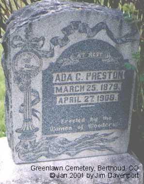 PRESTON, ADA C. - Larimer County, Colorado | ADA C. PRESTON - Colorado Gravestone Photos