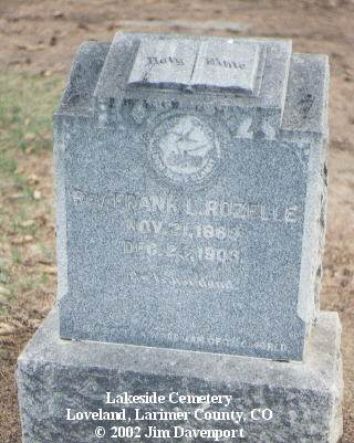 ROZELLE, REV. FRANK L. - Larimer County, Colorado | REV. FRANK L. ROZELLE - Colorado Gravestone Photos