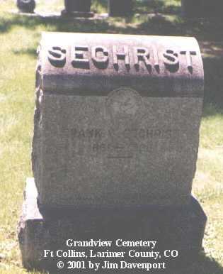 SECHRIST, FRANK W. - Larimer County, Colorado   FRANK W. SECHRIST - Colorado Gravestone Photos