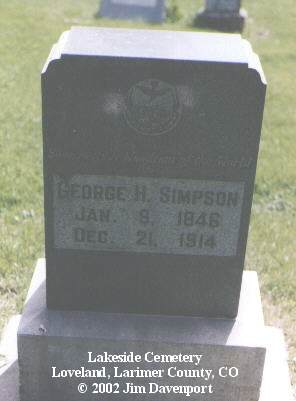 SIMPSON, GEORGE H. - Larimer County, Colorado | GEORGE H. SIMPSON - Colorado Gravestone Photos