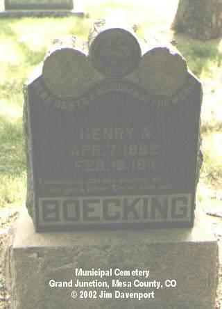 BOECKING, HENRY A. - Mesa County, Colorado | HENRY A. BOECKING - Colorado Gravestone Photos