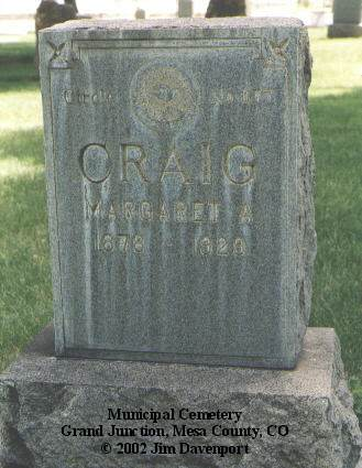 CRAIG, MARGARET A. - Mesa County, Colorado | MARGARET A. CRAIG - Colorado Gravestone Photos