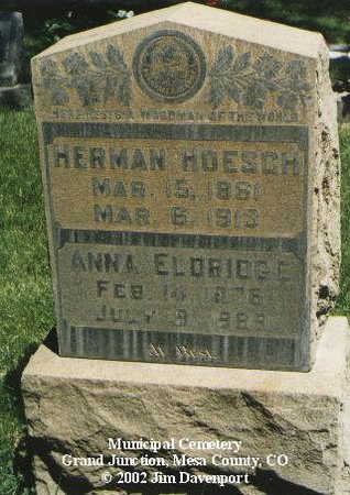 HOESCH, HERMAN - Mesa County, Colorado | HERMAN HOESCH - Colorado Gravestone Photos