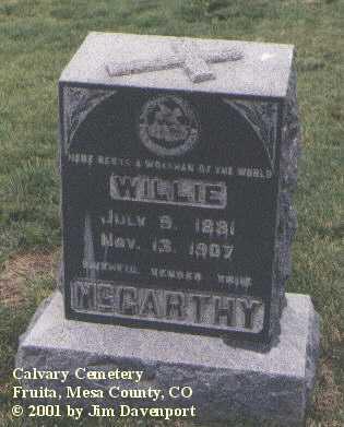 MCCARTHY, WILLIE - Mesa County, Colorado | WILLIE MCCARTHY - Colorado Gravestone Photos