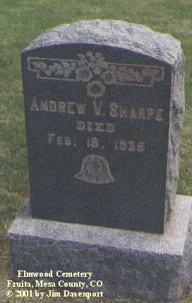 SHARPE, ANDREW V. - Mesa County, Colorado | ANDREW V. SHARPE - Colorado Gravestone Photos