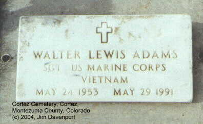 ADAMS, WALTER LEWIS - Montezuma County, Colorado | WALTER LEWIS ADAMS - Colorado Gravestone Photos