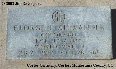 ALEXANDER, GEORGE F. - Montezuma County, Colorado | GEORGE F. ALEXANDER - Colorado Gravestone Photos