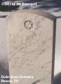 ANDERSON, ELDRIDGE B. - Montezuma County, Colorado   ELDRIDGE B. ANDERSON - Colorado Gravestone Photos