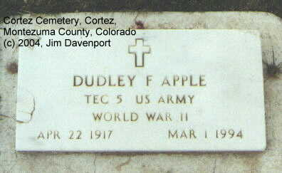 APPLE, DUDLEY F. - Montezuma County, Colorado | DUDLEY F. APPLE - Colorado Gravestone Photos