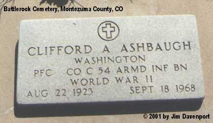 ASHBAUGH, CLIFFORD A. - Montezuma County, Colorado | CLIFFORD A. ASHBAUGH - Colorado Gravestone Photos