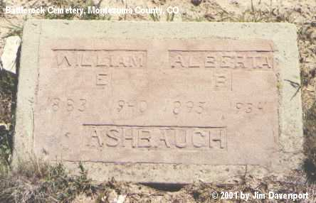 ASHBAUGH, WILLIAM E. - Montezuma County, Colorado | WILLIAM E. ASHBAUGH - Colorado Gravestone Photos