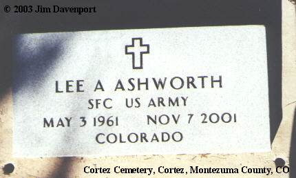 ASHWORTH, LEE A. - Montezuma County, Colorado | LEE A. ASHWORTH - Colorado Gravestone Photos