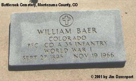 BAER, WILLIAM - Montezuma County, Colorado | WILLIAM BAER - Colorado Gravestone Photos