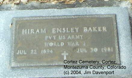 BAKER, HIRAM ENSLEY - Montezuma County, Colorado | HIRAM ENSLEY BAKER - Colorado Gravestone Photos