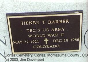 BARBER, HENRY TRAVIS - Montezuma County, Colorado | HENRY TRAVIS BARBER - Colorado Gravestone Photos