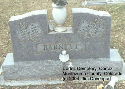 BARNETT, MARY JEAN - Montezuma County, Colorado | MARY JEAN BARNETT - Colorado Gravestone Photos