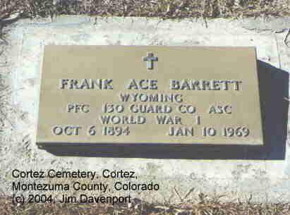 BARRETT, FRANK ACE - Montezuma County, Colorado | FRANK ACE BARRETT - Colorado Gravestone Photos