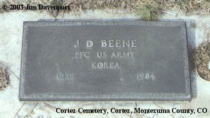 BEENE, J. D. - Montezuma County, Colorado | J. D. BEENE - Colorado Gravestone Photos