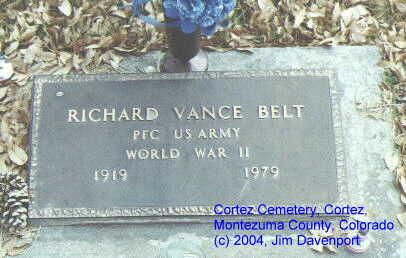 BELT, RICHARD VANCE - Montezuma County, Colorado | RICHARD VANCE BELT - Colorado Gravestone Photos