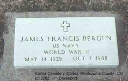 BERGEN, JAMES FRANCIS - Montezuma County, Colorado | JAMES FRANCIS BERGEN - Colorado Gravestone Photos
