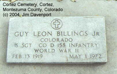 BILLINGS, GUY LEON, JR. - Montezuma County, Colorado | GUY LEON, JR. BILLINGS - Colorado Gravestone Photos