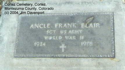 BLAIR, ANCLE FRANK - Montezuma County, Colorado | ANCLE FRANK BLAIR - Colorado Gravestone Photos